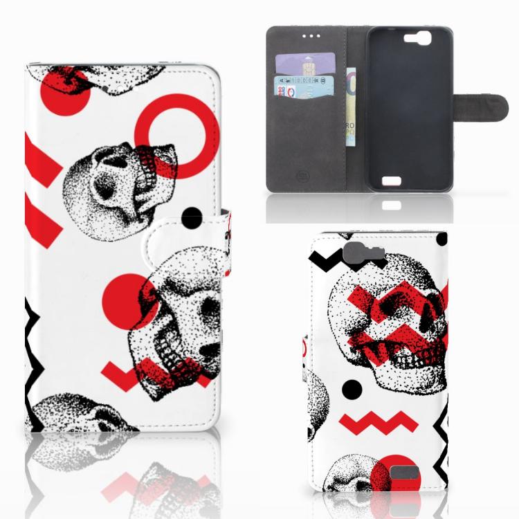 Telefoonhoesje met Naam Huawei Ascend G7 Skull Red