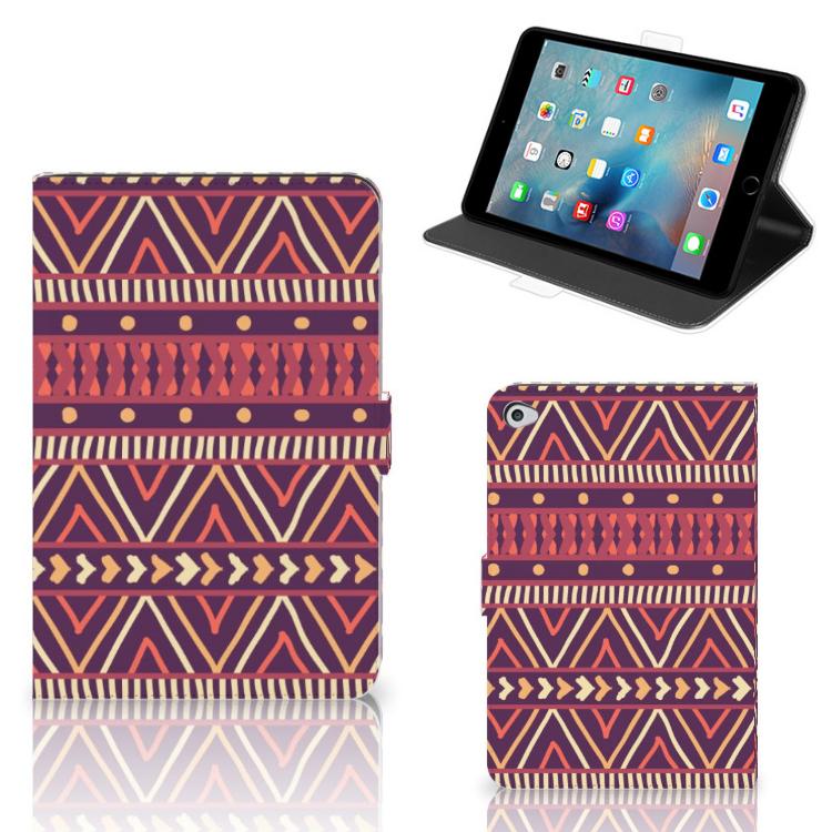 Apple iPad Mini 5 Tablet Hoes Aztec Paars