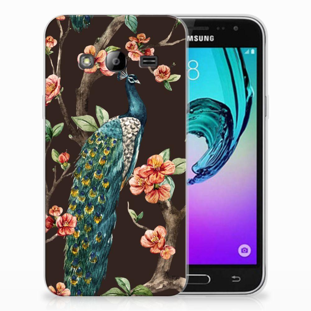 Samsung Galaxy J3 2016 TPU Hoesje Pauw met Bloemen