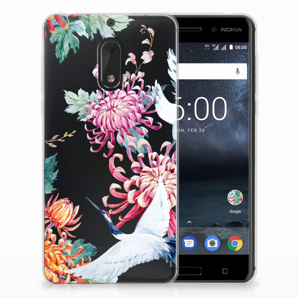 Nokia 6 Uniek TPU Hoesje Bird Flowers