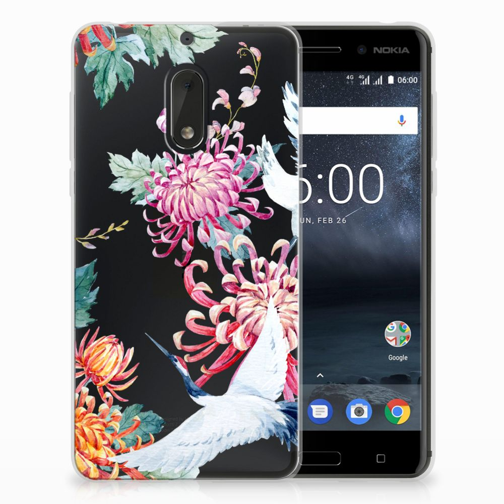 Nokia 6 TPU Hoesje Bird Flowers