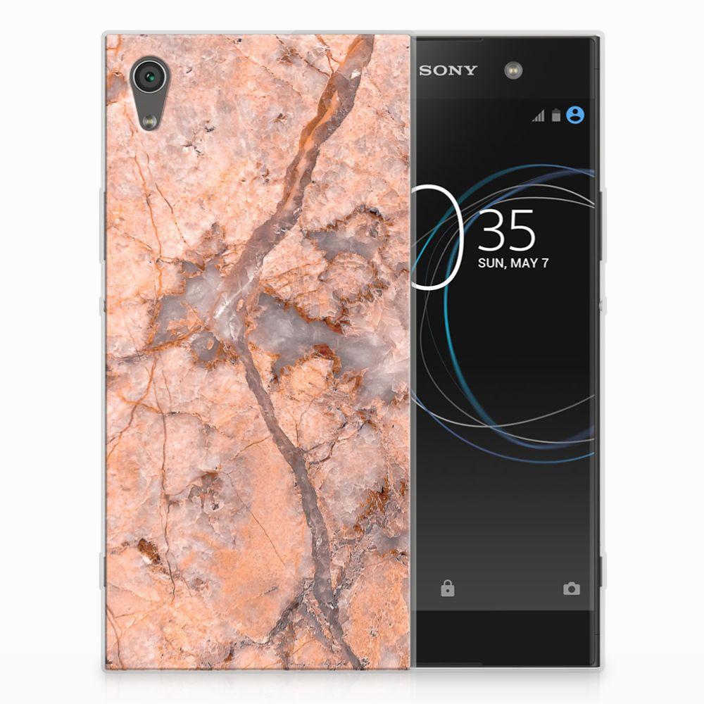 Sony Xperia XA1 Ultra TPU Hoesje Design Marmer Oranje