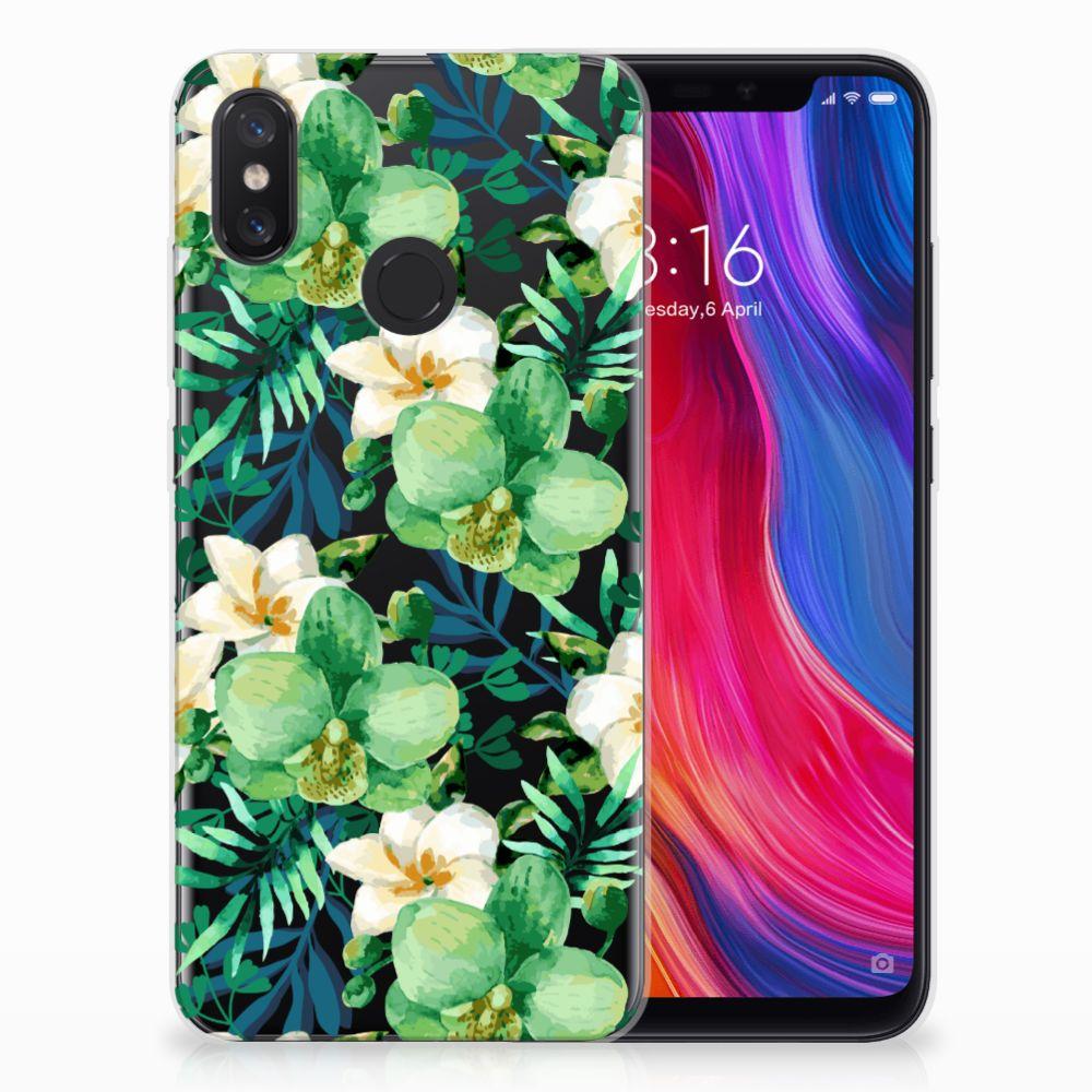 Xiaomi Mi 8 Uniek TPU Hoesje Orchidee Groen