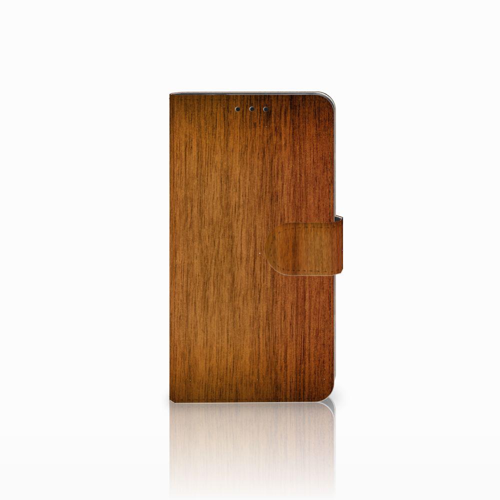Huawei Honor 6X Uniek Boekhoesje Donker Hout