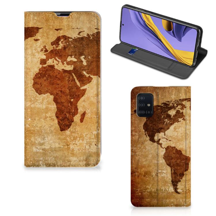 Samsung Galaxy A51 Book Cover Wereldkaart