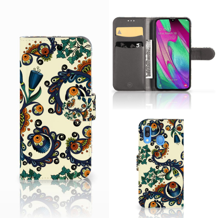 Wallet Case Samsung Galaxy A40 Barok Flower