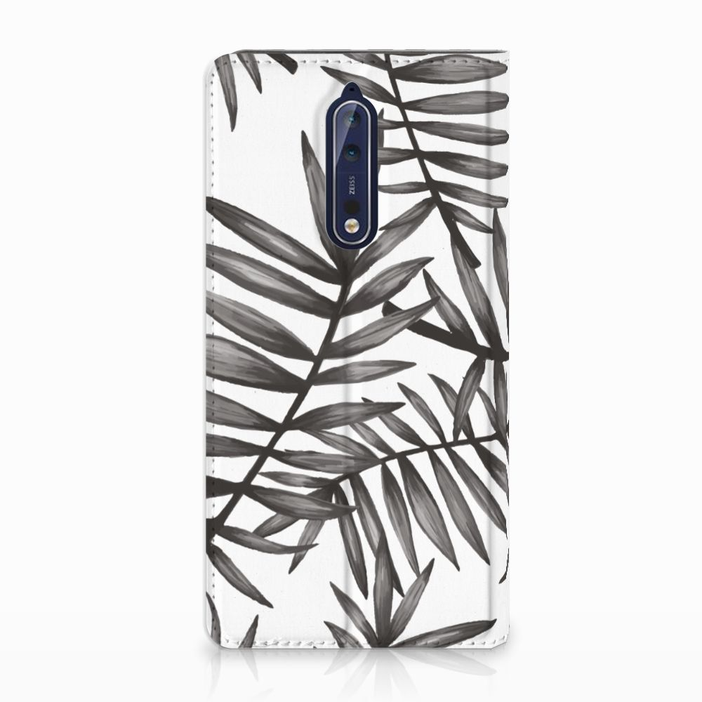 Nokia 8 Uniek Standcase Hoesje Leaves Grey