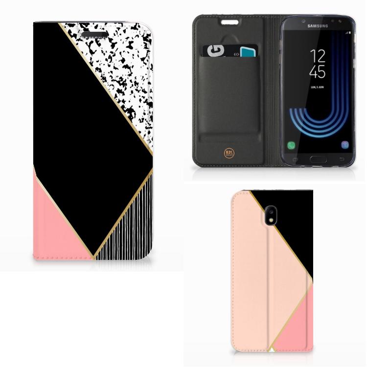 Samsung Galaxy J5 2017 Stand Case Zwart Roze Vormen