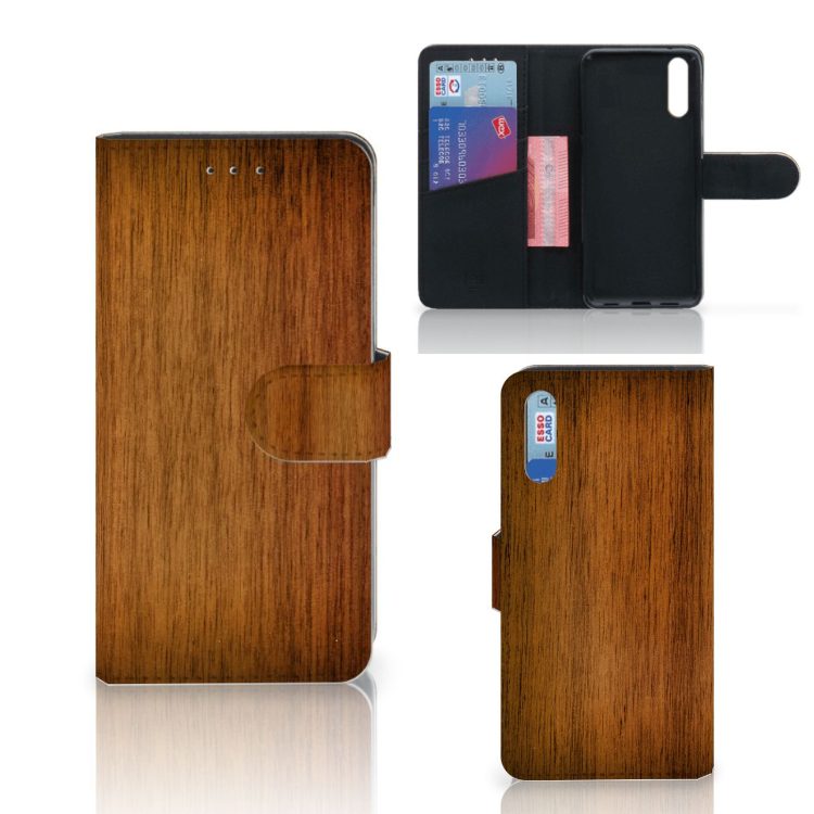 Huawei P20 Book Style Case Donker Hout