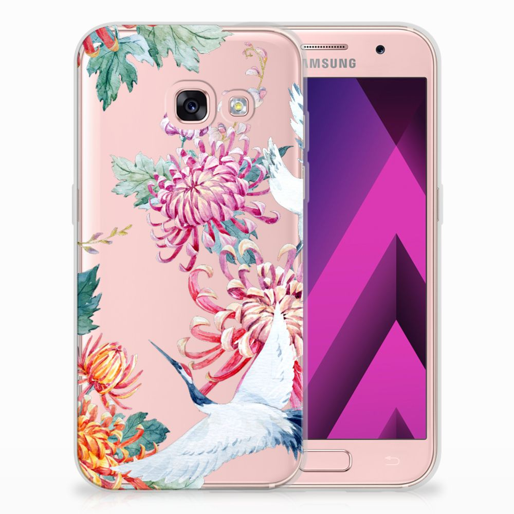 Samsung Galaxy A3 2017 Uniek TPU Hoesje Bird Flowers