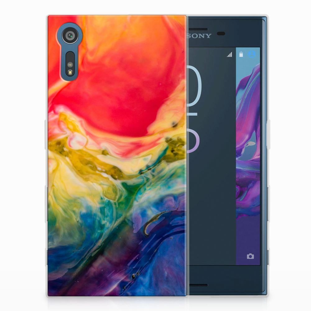 Sony Xperia XZs | XZ Uniek TPU Hoesje Watercolor Dark