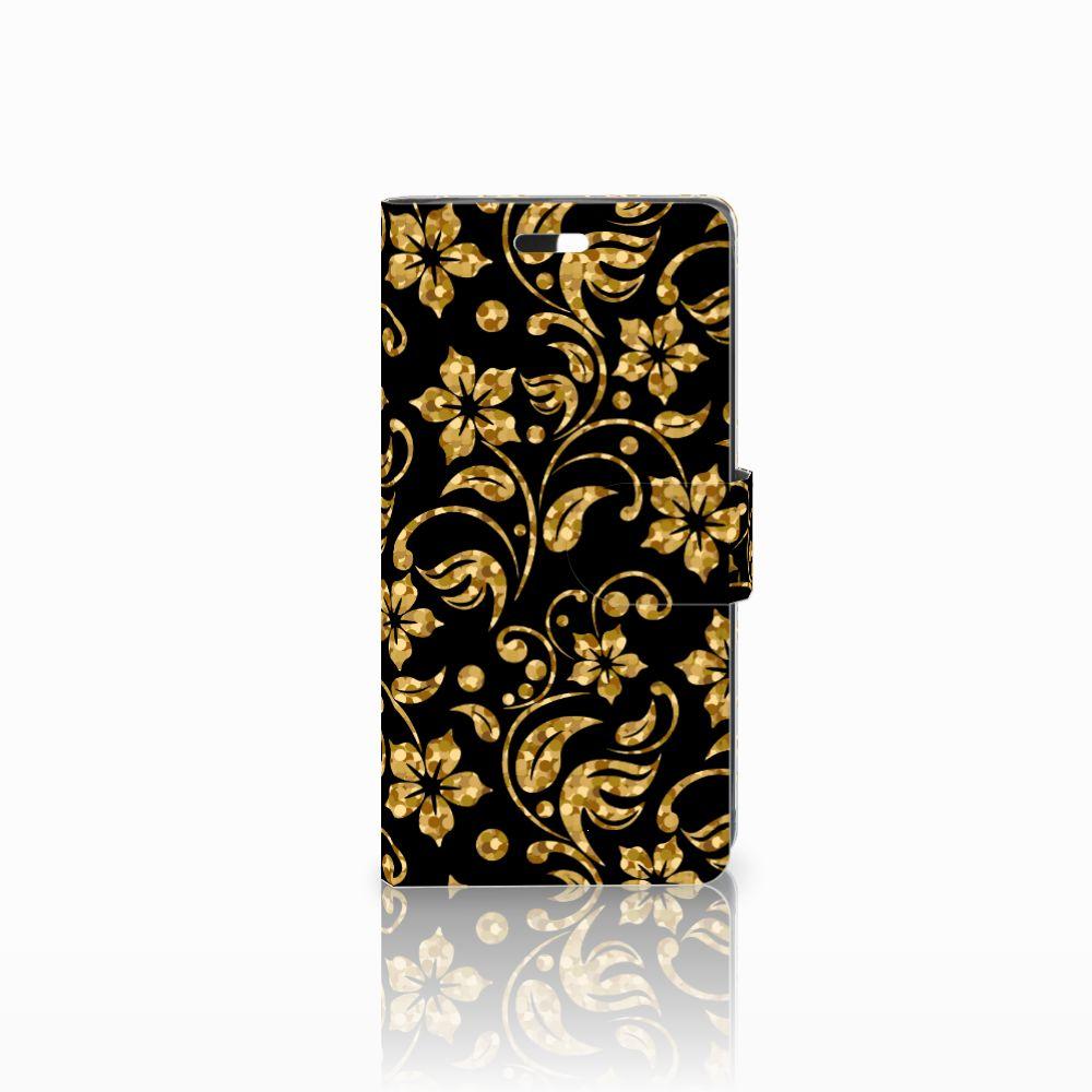 Huawei Y635 Boekhoesje Design Gouden Bloemen