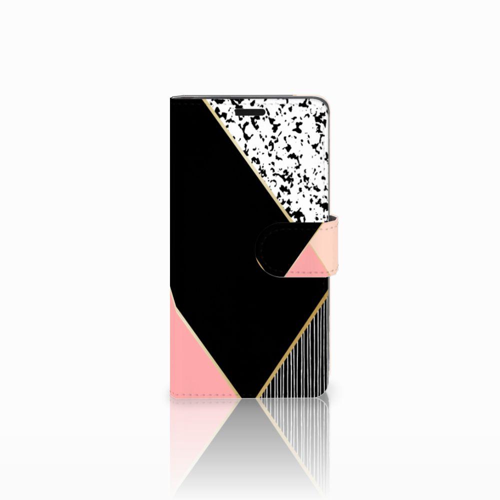 Lenovo C2 Power Uniek Boekhoesje Black Pink Shapes