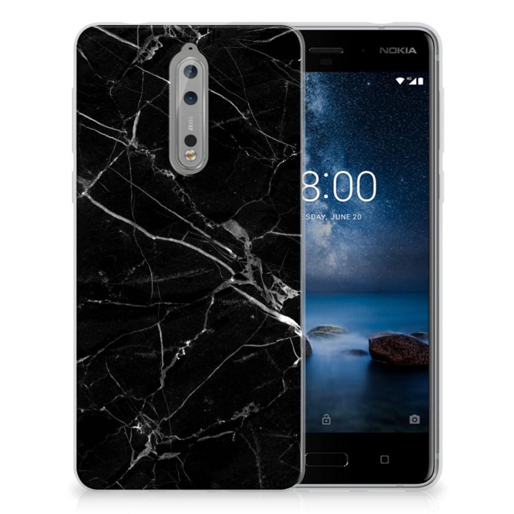 Nokia 8 TPU Siliconen Hoesje Marmer Zwart - Origineel Cadeau Vader
