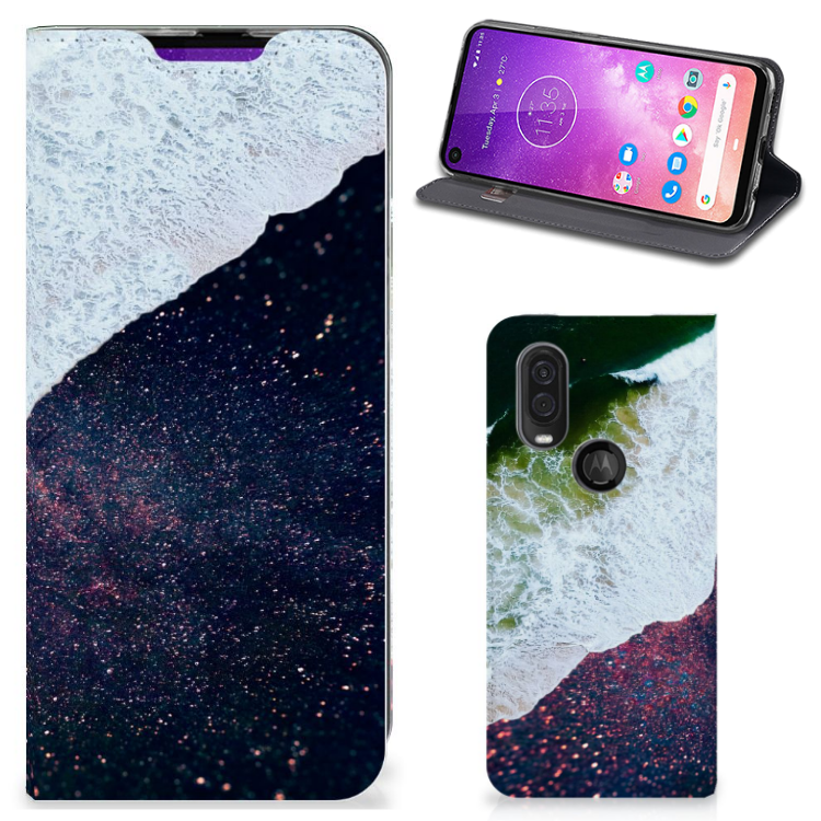 Motorola One Vision Stand Case Sea in Space