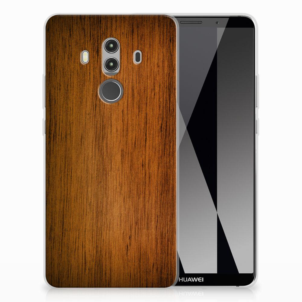 Huawei Mate 10 Pro Uniek TPU Hoesje Donker Hout