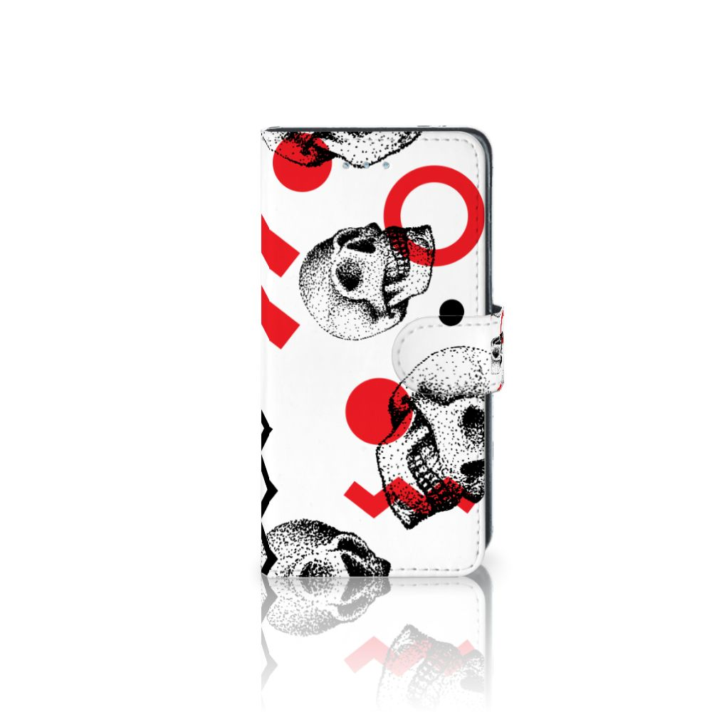 Samsung Galaxy J3 2016 Boekhoesje Design Skull Red