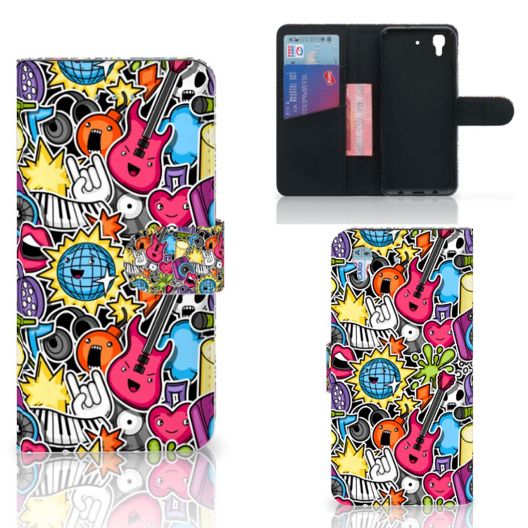 Honor 4A | Y6 Wallet Case met Pasjes Punk Rock