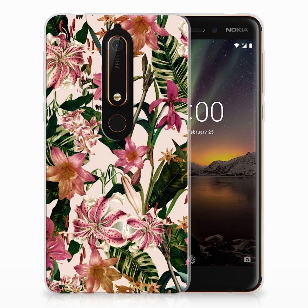 Nokia 6 (2018) Uniek TPU Hoesje Flowers