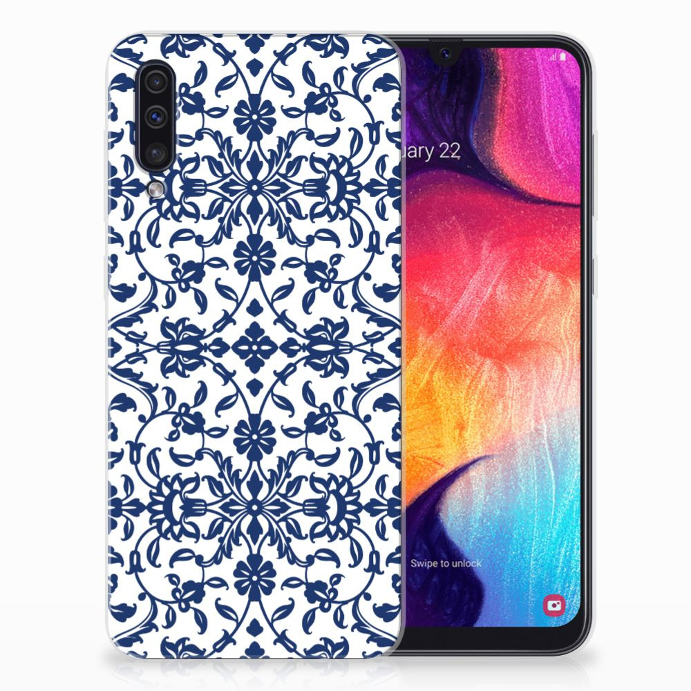 Samsung Galaxy A50 TPU Hoesje Flower Blue