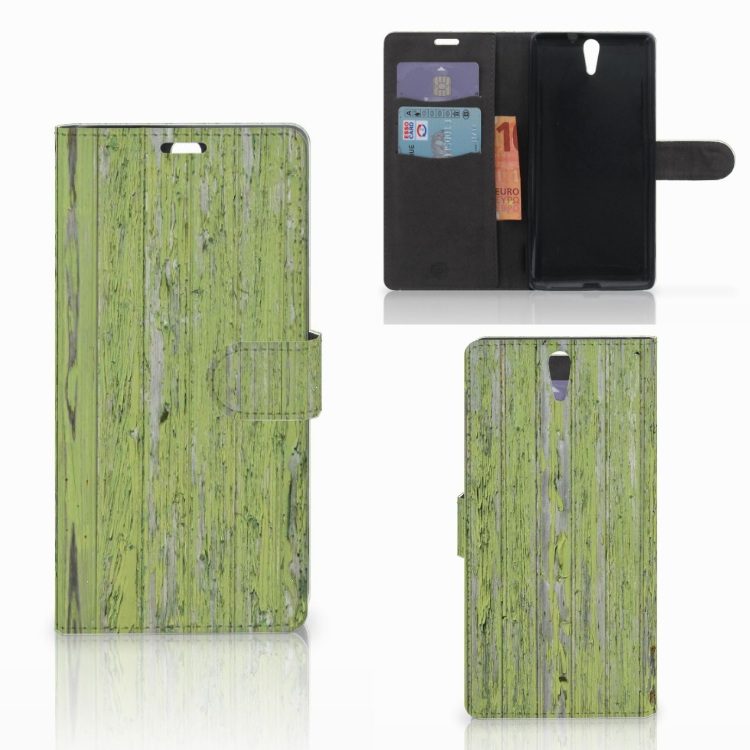 Sony Xperia C5 Ultra Book Style Case Green Wood