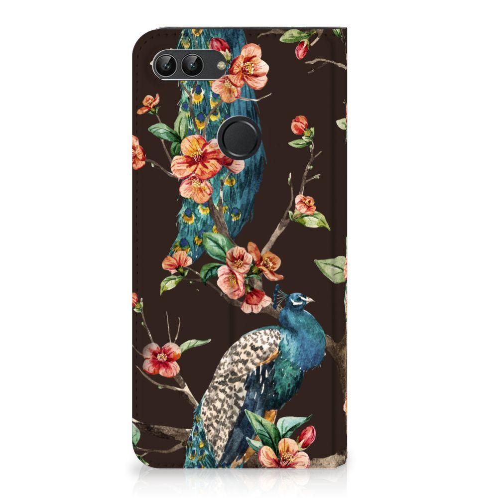 Huawei P Smart Standcase Hoesje Design Pauw met Bloemen
