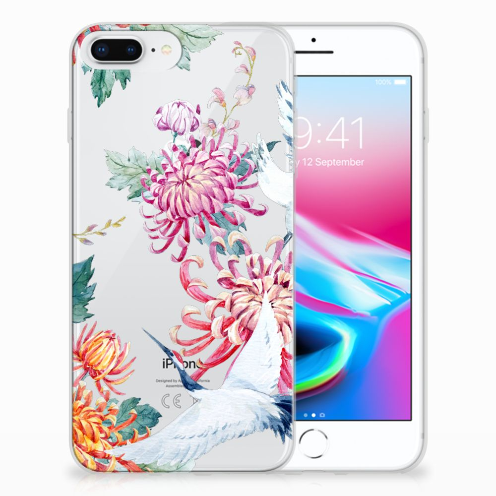 Apple iPhone 7 Plus | 8 Plus Uniek TPU Hoesje Bird Flowers