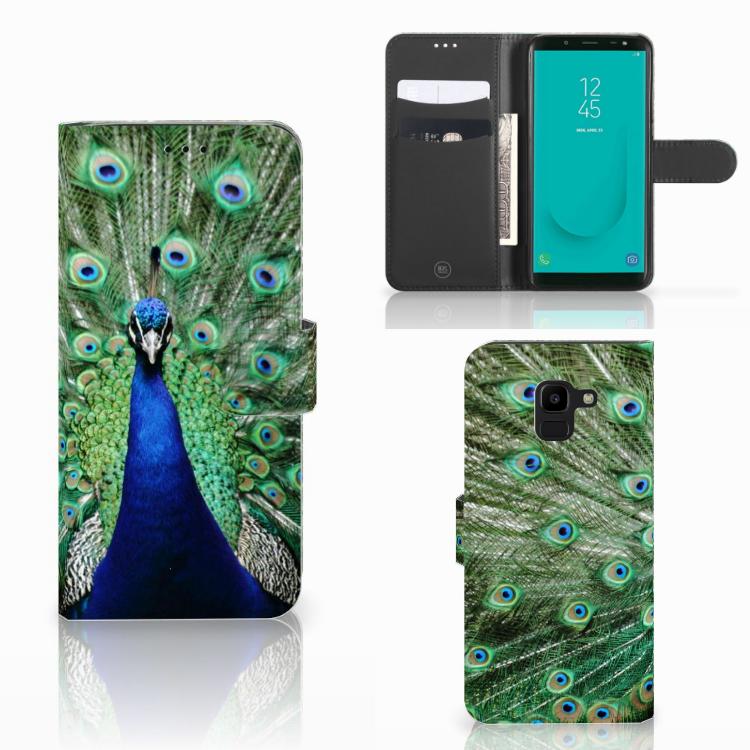 Samsung Galaxy J6 2018 Telefoonhoesje met Pasjes Pauw