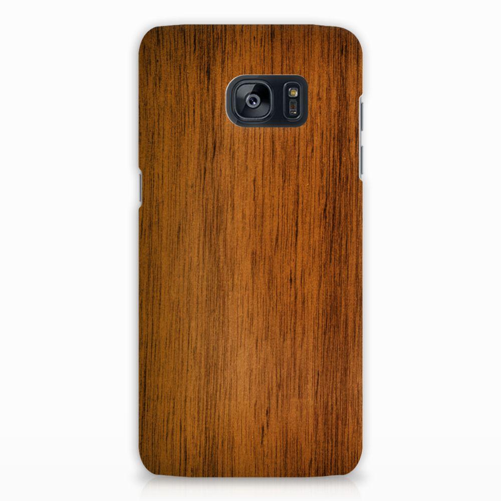 Samsung Galaxy S7 Edge Uniek Hardcase Hoesje Donker Hout
