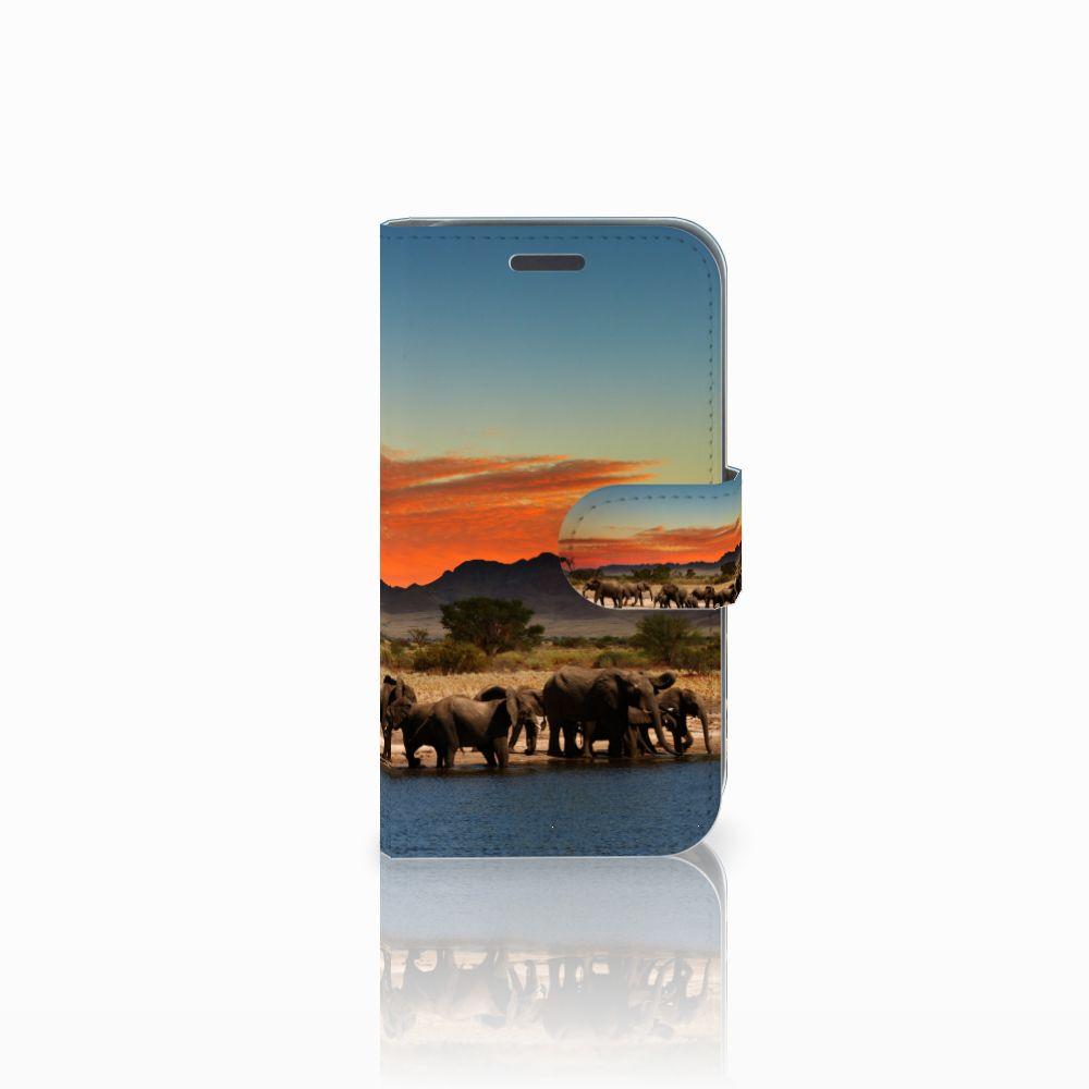 Samsung Galaxy J1 2016 Telefoonhoesje met Pasjes Olifanten
