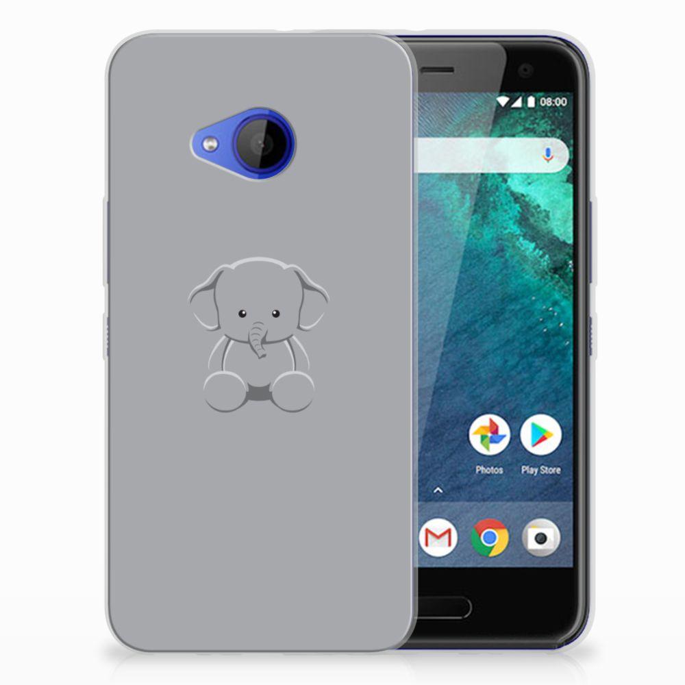 HTC U11 Life Telefoonhoesje met Naam Grijs Baby Olifant