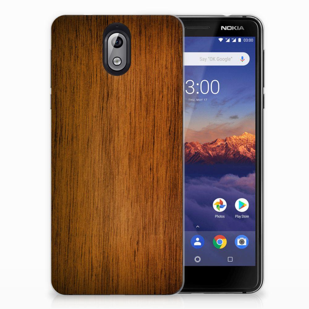 Nokia 3.1 (2018) Bumper Hoesje Donker Hout