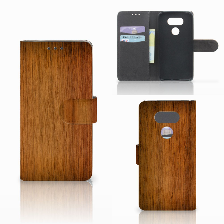 LG G5 Book Style Case Donker Hout