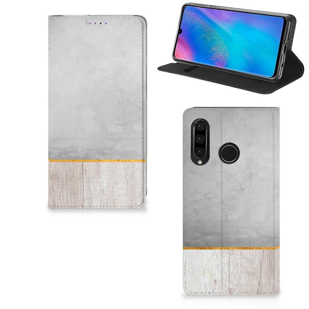 Huawei P30 Lite Book Wallet Case Wood Concrete