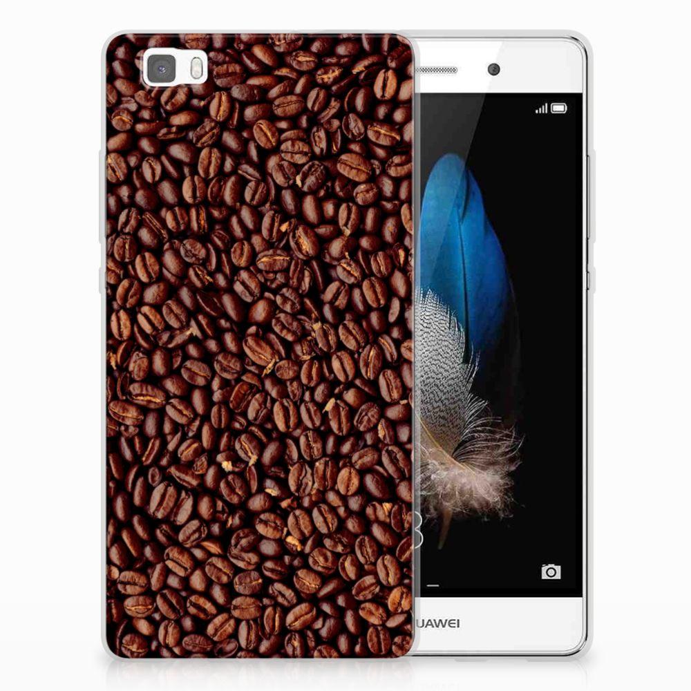 Huawei Ascend P8 Lite Uniek TPU Hoesje Koffiebonen