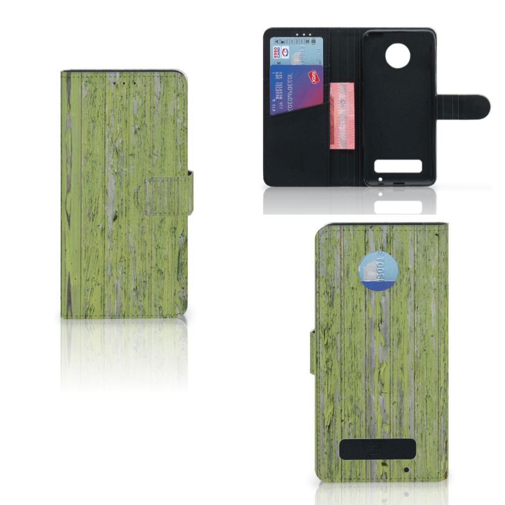 Motorola Moto Z Play Boekhoesje Design Green Wood