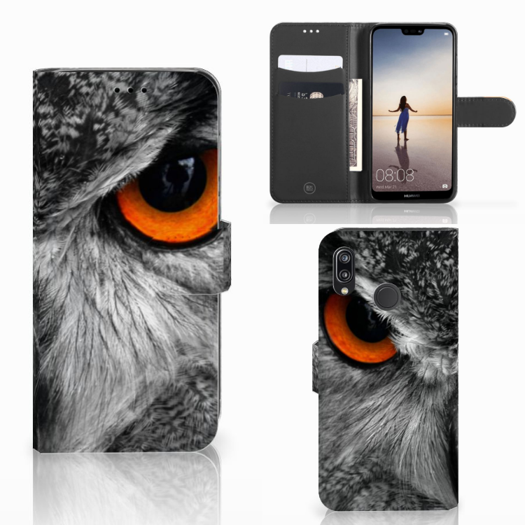 Huawei P20 Lite Telefoonhoesje met Pasjes Uil