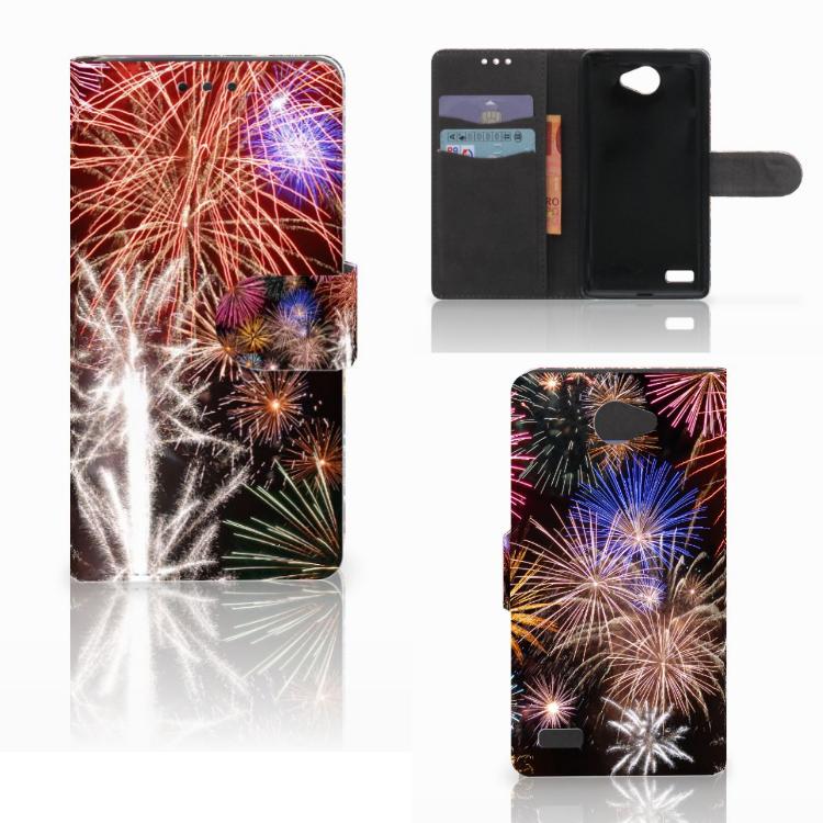 LG Bello 2 Wallet Case met Pasjes Vuurwerk