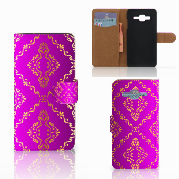Wallet Case Samsung Galaxy J2 2016 Barok Roze