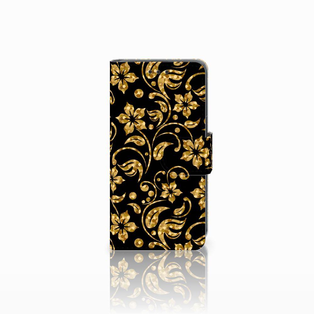 Nokia Lumia 630 Boekhoesje Design Gouden Bloemen