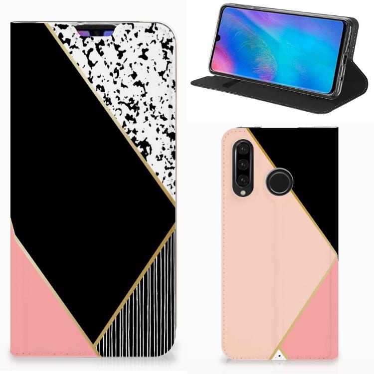 Huawei P30 Lite New Edition Stand Case Zwart Roze Vormen