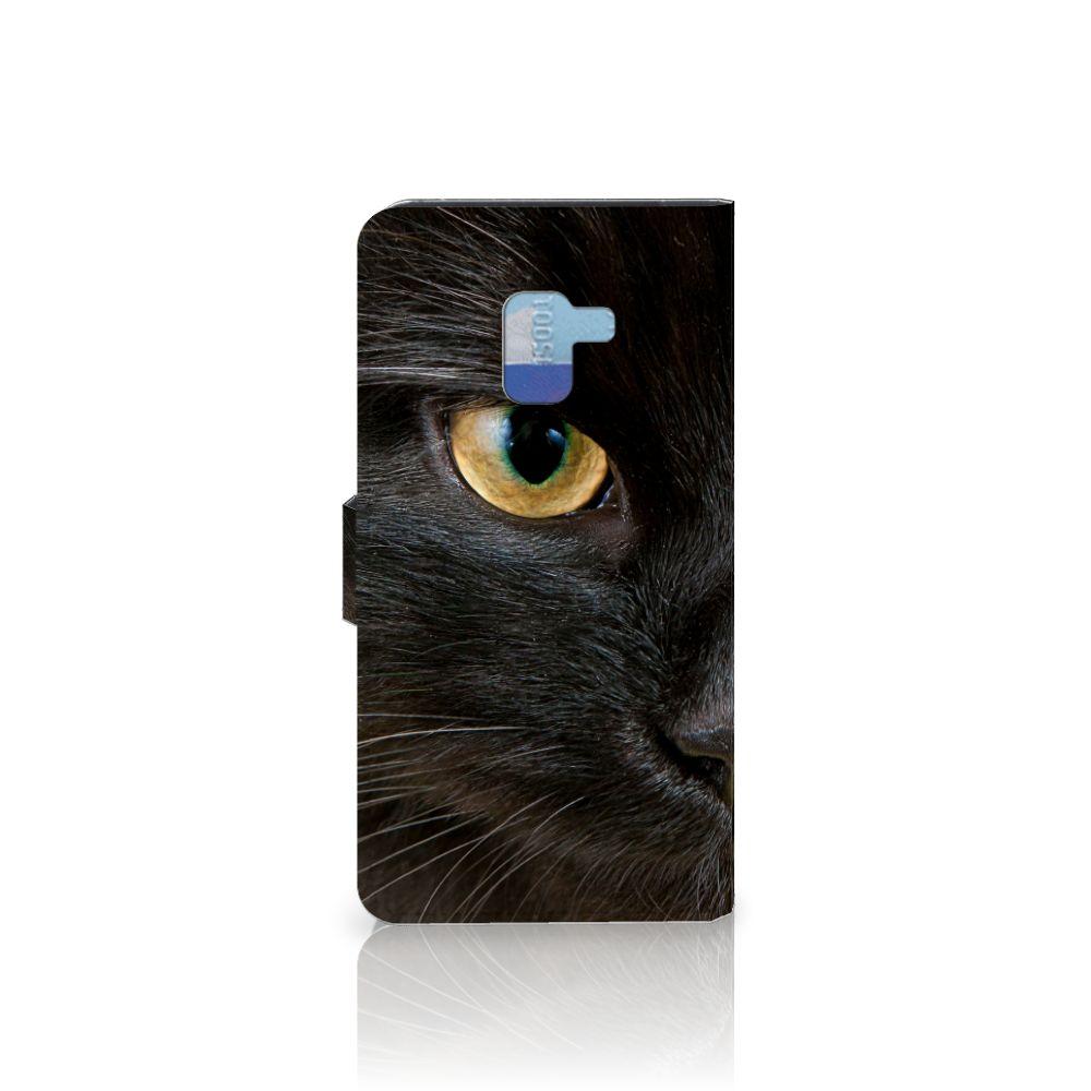 Samsung Galaxy A8 Plus (2018) Telefoonhoesje met Pasjes Zwarte Kat