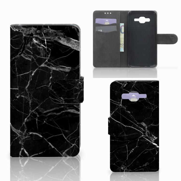 Samsung Galaxy J5 (2015) Bookcase Marmer Zwart - Origineel Cadeau Vader