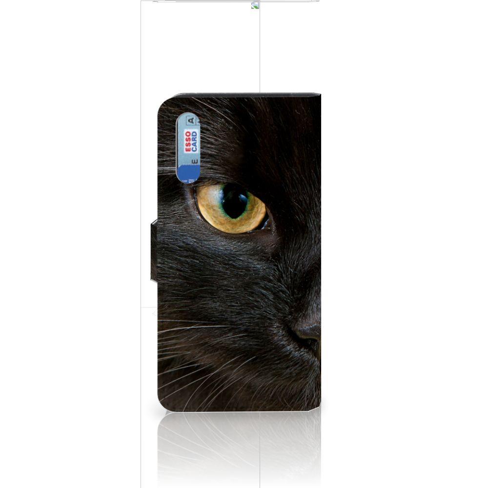Huawei P20 Telefoonhoesje met Pasjes Zwarte Kat