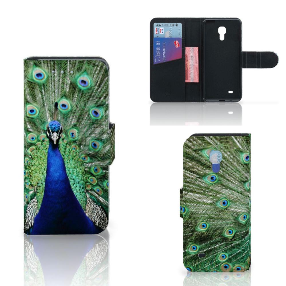 Samsung Galaxy S4 Mini i9190 Telefoonhoesje met Pasjes Pauw