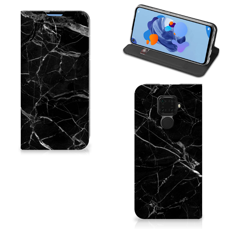 Huawei Mate 30 Lite Standcase Marmer Zwart