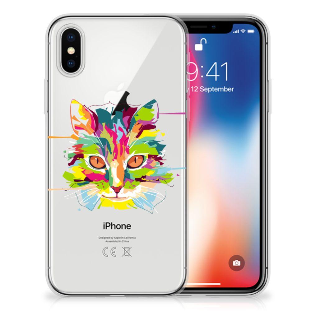 Apple iPhone X | Xs Telefoonhoesje met Naam Cat Color