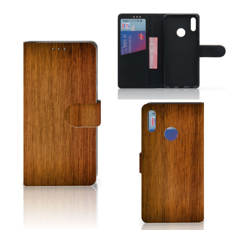 Huawei Y7 Pro | Y7 Prime (2019) Book Style Case Donker Hout