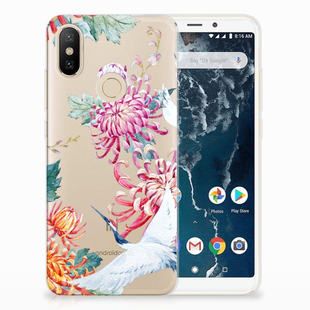 Xiaomi Mi A2 TPU Hoesje Bird Flowers