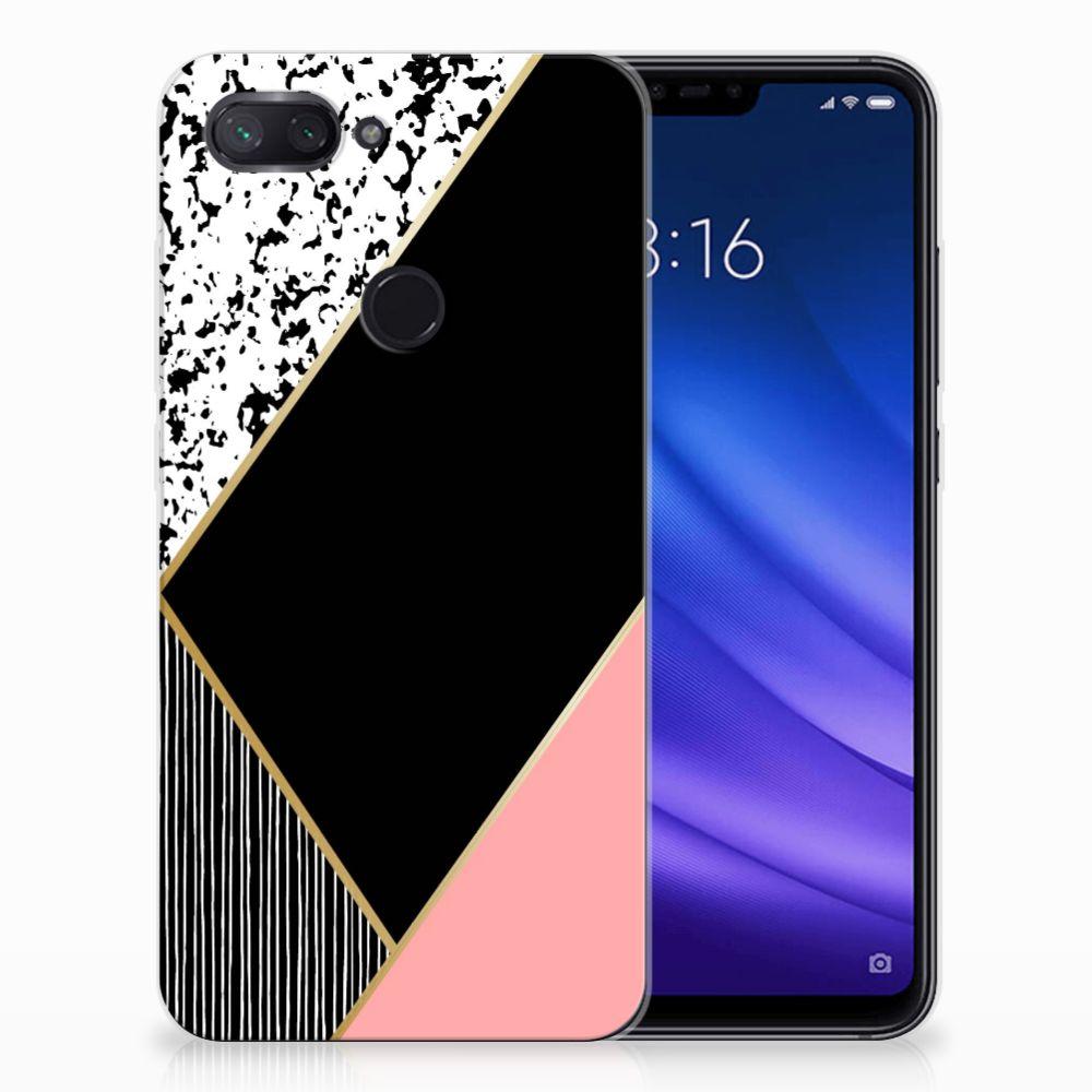 Xiaomi Mi 8 Lite TPU Hoesje Zwart Roze Vormen